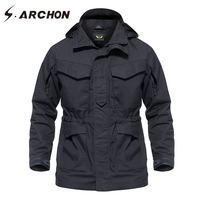 S ARCHON Autumn Winter Waterproof Tactical Field Jacket Men Hooded Windbreaker Army Pilot Jacket Clothes Military