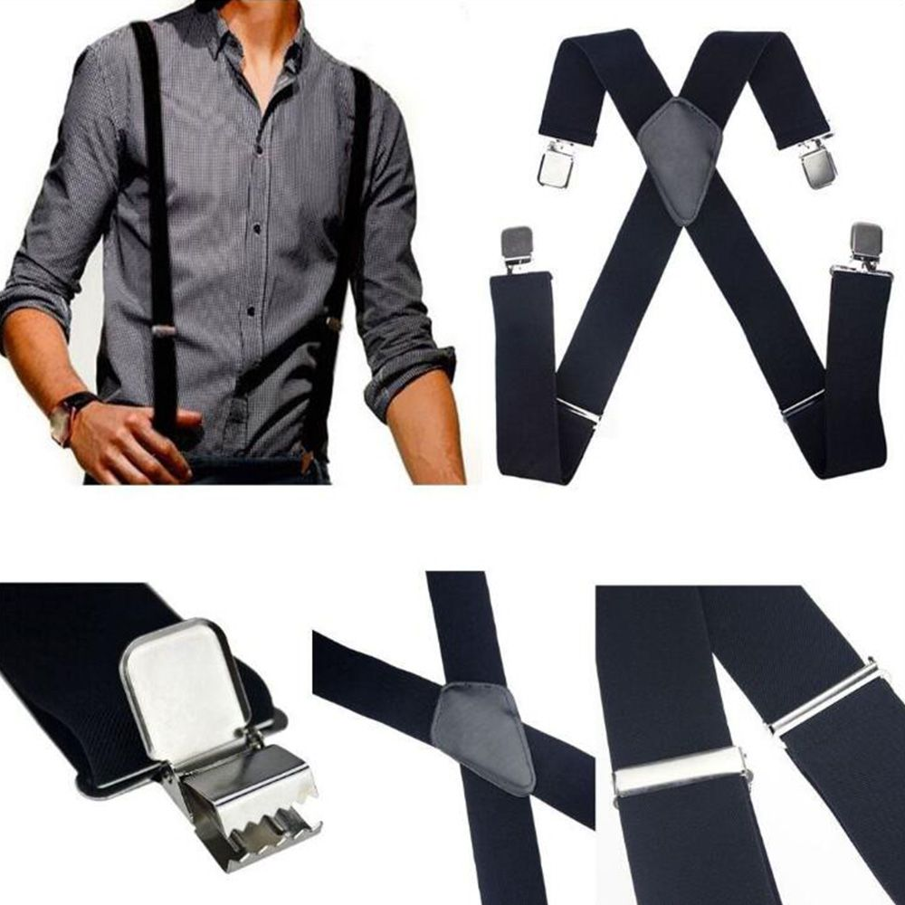 Lot of 10 Suspender 6 Button Hole Suspenders Faux Leather Elastic Braces Belts