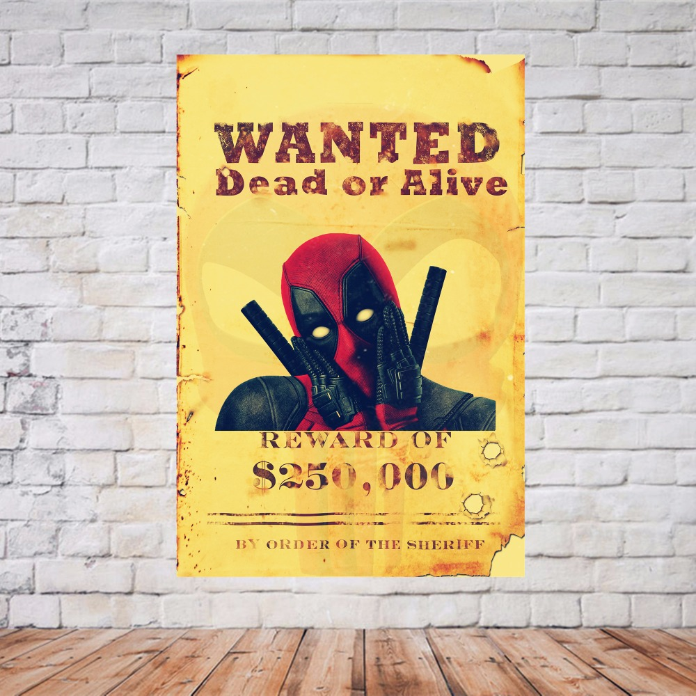 Wanted Deadpool Vintage Canvas Painting Modern Wall Art Picture 4 ...