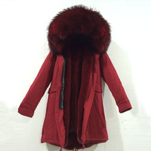 comfortable all red long jacket faux fur inside with large raccoon fur collar hood parka coat free shipping
