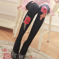 Spring And Autumn Rose Flower Pantyhose Anti Tick Silk Printing Base Socks 120D Velvet Stockings Women