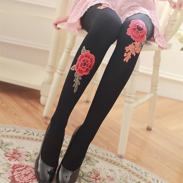 Primavera e no Outono flor Rosa impressão de seda meia-calça Anti-tick base collants 120D meias De Veludo Mulheres em meias grossas