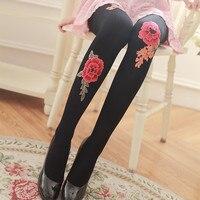 Spring And Autumn Rose Flower Pantyhose Anti Tick Silk Printing Base Socks 120D Velvet Stockings Women