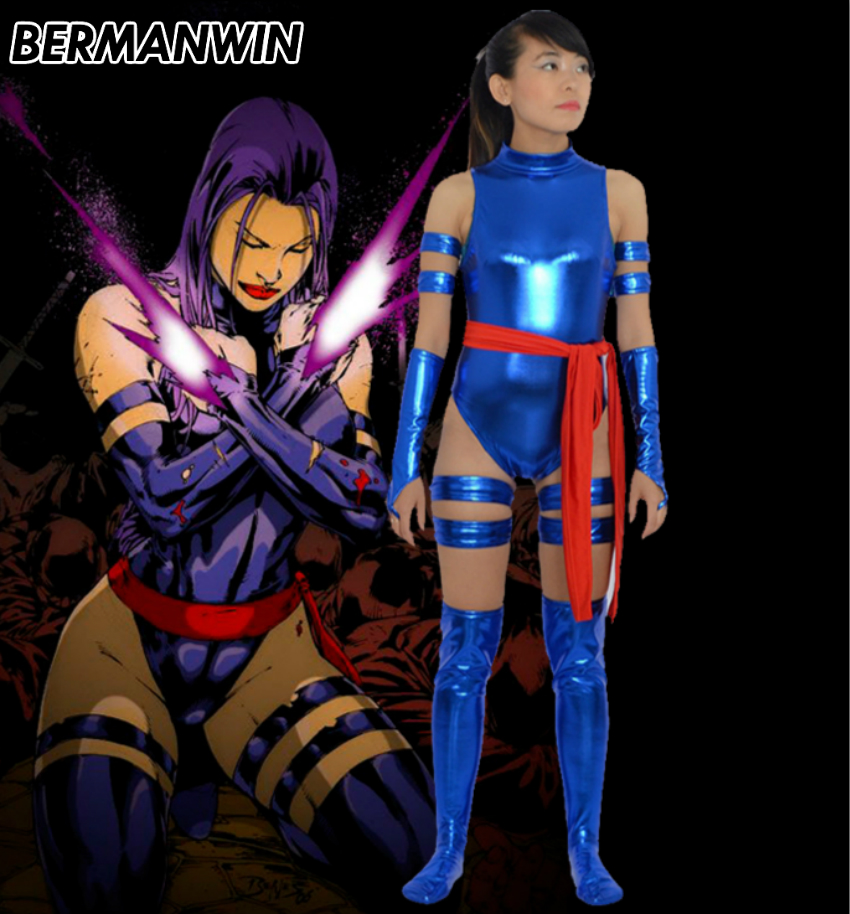 BERMANWIN High Quality X-Men Blue Shiny Female Psylocke Ninja Costume superhero costume zentai suit Halloween Cosplay Costume