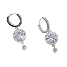 Dazzling shiny Big round cz charm earring 2018 sparking bling bridal wedding engagement gift Fashion cubic zirconia jewelry(China)