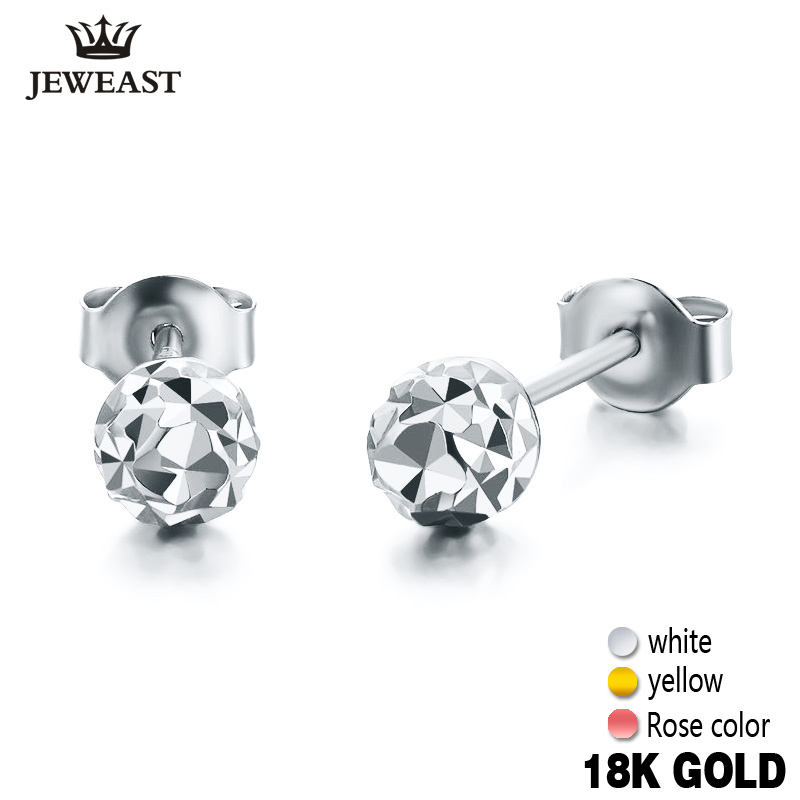 18k Gold Earrings Yellow Rose White New Fashion Trendy Women Ball Small Female Engaged Jewelry 2017 Hot Sale Party Classic Good