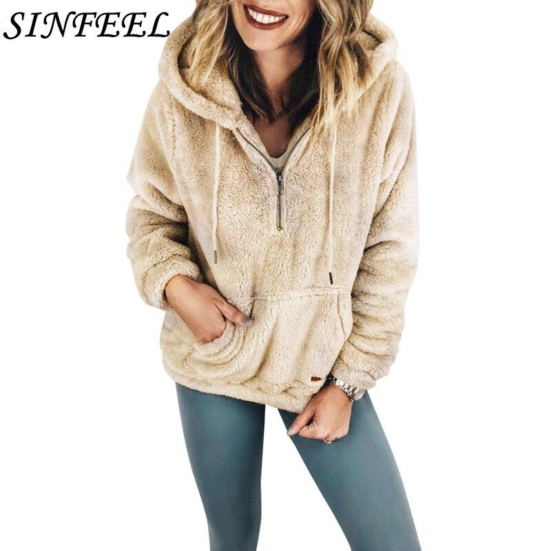 SINFEEL Loose Faux Fur Casual Hoodies Women Sweatshirts Autumn Winter Zip Pocket Faux Shearling Hoodies Female Plush Teddy Tops