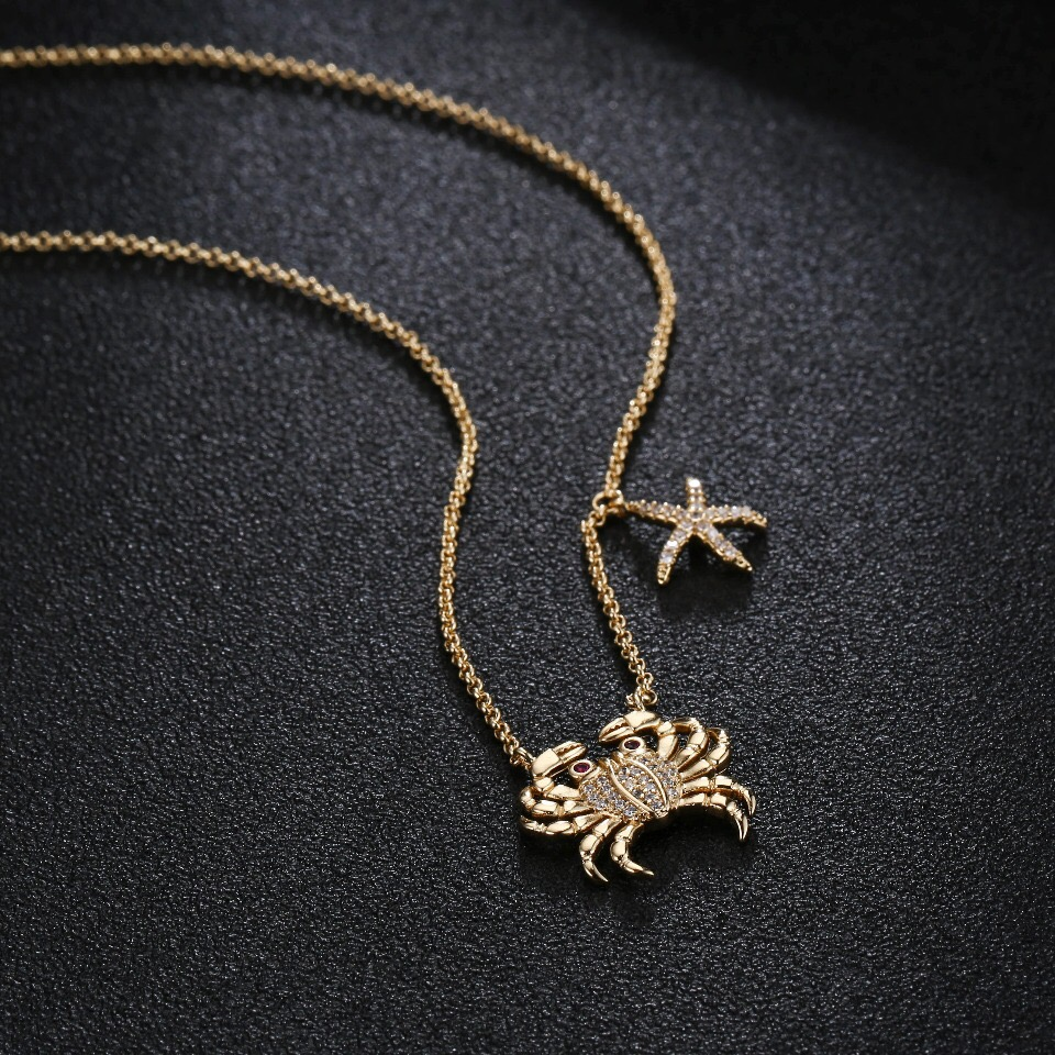 UMGODLY Fashion Cubic Zirconia Crab Starfish Pendant Gold Color Popular Necklace Monaco Designer Women Fashion Jewelry цены онлайн