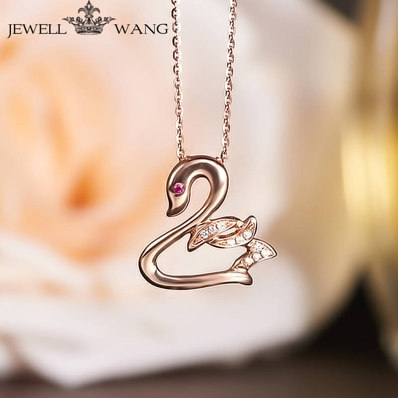 18K Rose Gold Pendants for Women Rublite Swan Necklace Certified 18K Rose Gold Pendant Light Luxury Necklace Jewelry