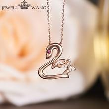 JEWELLWANG 18K Rose Gold Pendants for Women Rublite Swan Necklace Certified 18K Rose Gold Pendant Light Luxury Necklace Jewelry