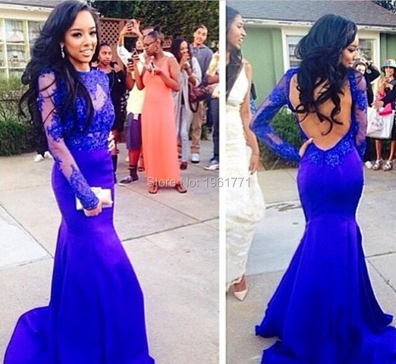 Popular Royal Blue Prom Dress with Sleeve-Buy Cheap Royal Blue ...