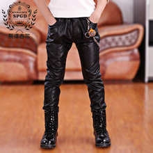 81d4cb6f8 2017 Faux Leather Boys Pants Spring-Autumn children's clothing skinny pants  patchwork casual child trousers