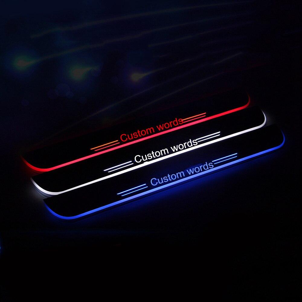 2Х КРУТО !!! пользовательские светодиодные накладки на пороги Накладки на пороги обивка крышки для Audi А6 рестайлинг 2016 красный/синий/белый