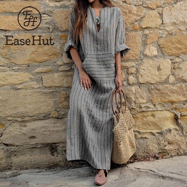 EaseHut Women Big Size Maxi Dress 4XL 5XL Kaftan Long Sleeve Dresses Robe  2018 Autumn Vintage 2854a59d044d