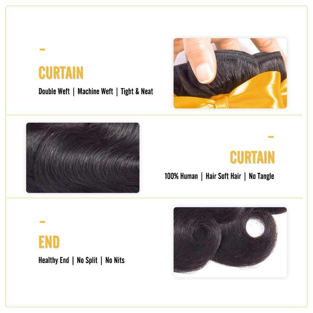 Pelo de ALI BFF onda del cuerpo pelo indio armadura paquetes 100% cabello humano 3 y 4 paquetes de pelo Remy de Color Natural extensión