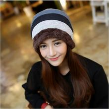 10 pieces/lot Winter warm head hood  hat fashion Korean men and women general hat striped knitted hat