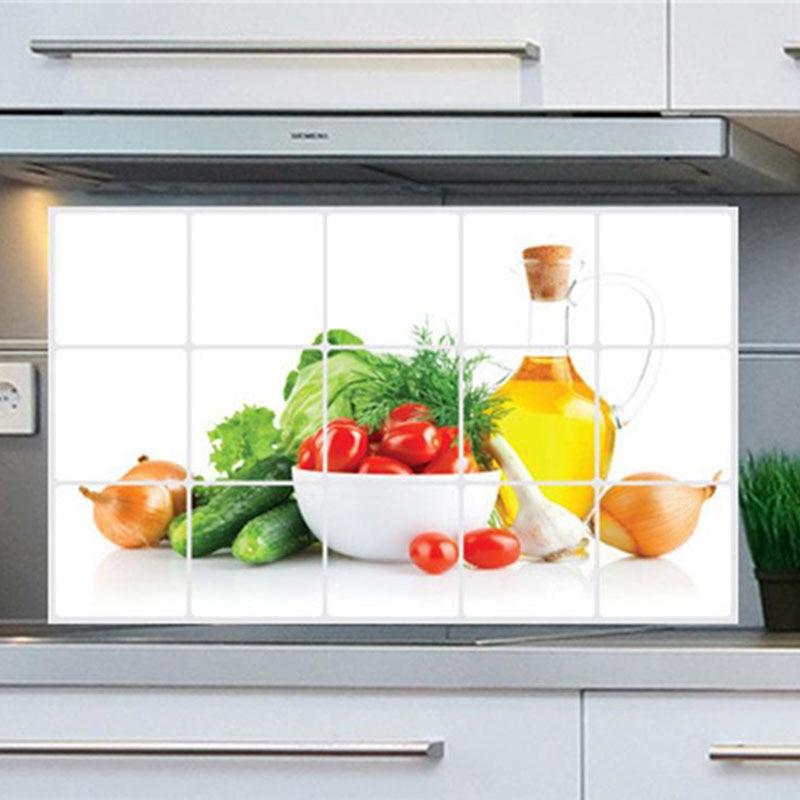 Nova 3D DIY oljna kuhinja Nalepka za stene Zeleno Sadje Freska - Dekor za dom - Fotografija 5
