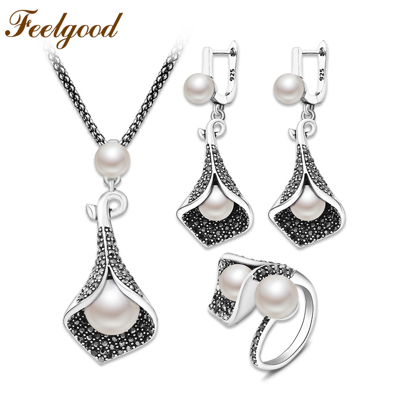 Feelgood New Jewellery Set Individuality Vintage Silver Color Calla Lily Flower And Imitation Pearl Jewelry Sets For Women contemporary modern japanese american style triangle kitchen light house lighting led ceiling lamp for teens bedroom dining room