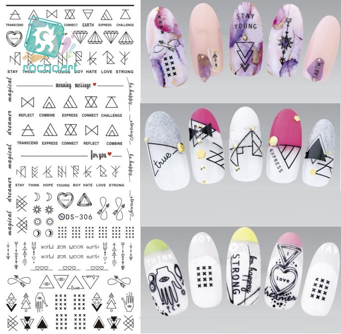 Rocooart DS306 Design Water Transfer Nails Art Sticker Harajuku Element Line Figures Nail Wraps Sticker Tips Manicura nail Decal ds336 new design water transfer nails art sticker harajuku elements blue red shrimp shell nail wraps sticker manicura decal