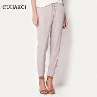 High Quality Chiffon Pants Summer Style Women Fashion Pant Solid Harem Elastic Drawstring Pleated Woman Trousers