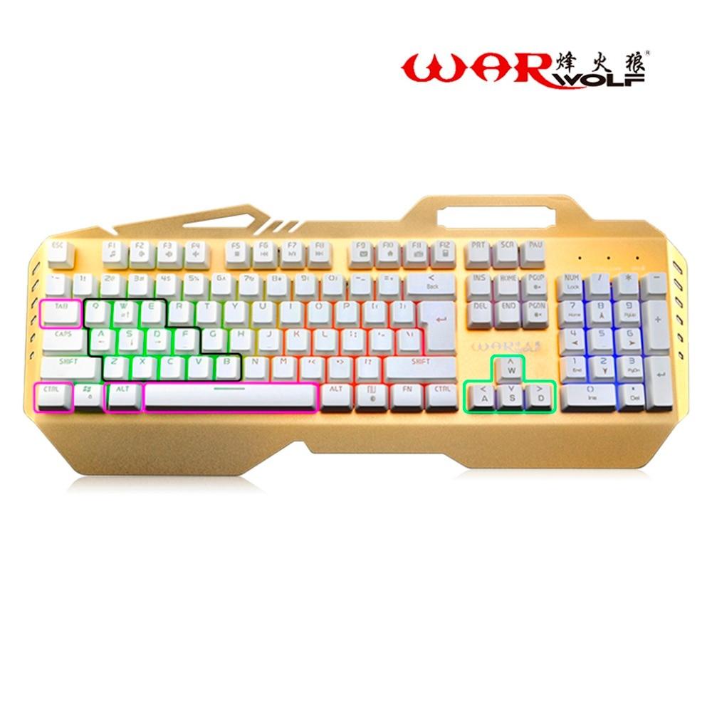 Clavier mécanique filaire 104 touches clavier de jeu rétro-éclairé pour jeux d'ordinateur sensation mécanique avec 7 rétroéclairage arc-en-ciel coloré