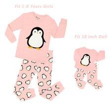9b1e39b0b52d5 2018 filles pingouin Pyjamas avec poupée Pyjamas bébé licorne vêtements de  nuit enfants princesse Pyjamas enfants