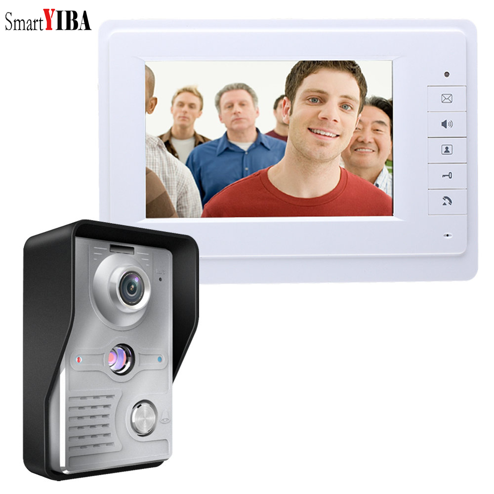 SmartYIBA Waterproof Wired Video Doorbell 1&2 Monitor Door Intercom with Electric Lock Kit Color Video Entryphone Night Vision