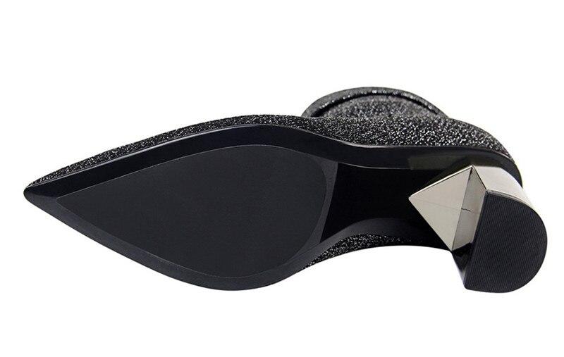 Mince Bout Extensible Hiver 2018 Élégant Courtes Tricot Talons Mi Épais Chaussures argent mollet Dames Bottes Automne Femmes Pointu Haute Black 6IqqrZSw