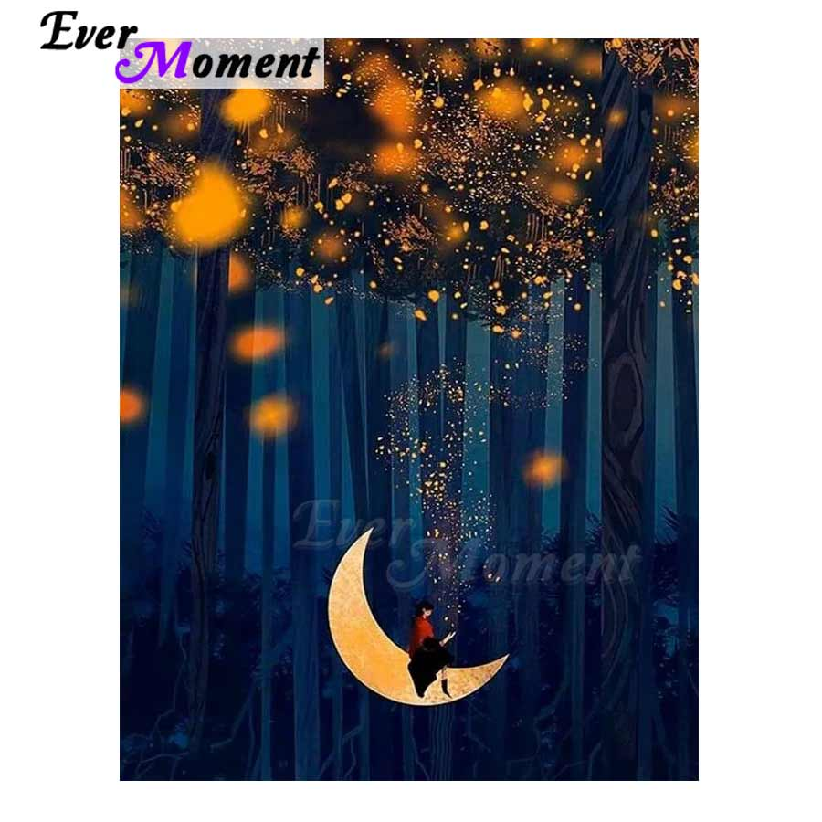 Ever Moment Diamond Painting Girl On Moon Forest 5D DIY Decor Handmade Picture Of Rhinestone Square Diamond Embroidery 3F504