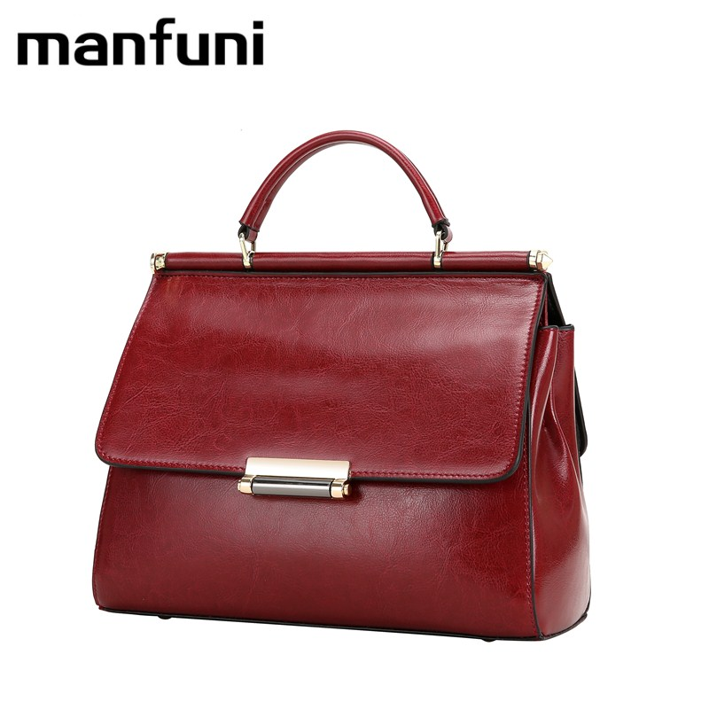 MANFUNI Handbags Vintage Fashion 100% Cowhide Bags For Women Genuine Leather Tote Crossbody Bag Bolsas Designer Brand 0811 11cls bolsas fashion 100
