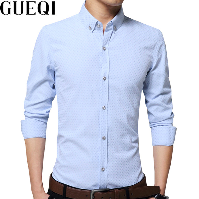 4a3c85163ed GUEQI Men Fashion Printed Shirts BIG Size 5XL Solid Color Style Clothing  2018 New Career Man Casual Dress Shirts
