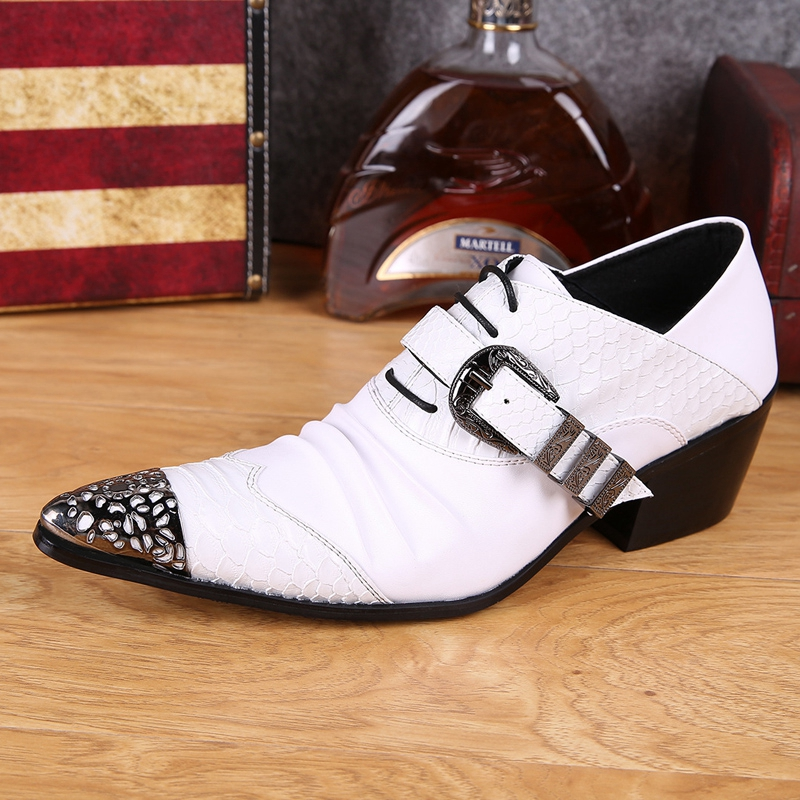 Plus Size White Pointed Toe Lace up Man Club Banquet Rocker Foorwear High Heels Genuine Leather Men's Wedding Party Shoes SL289 vintage wine red men dress shoes genuine leather lace up business wedding male shoes retro man fashion pointed toe high heels