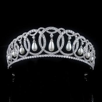 Zirconia princesa nupcial Corona CZ Tiara accesorios para el cabello de boda Tiaras y coronas diadema Couronne Mariage Bijoux Corona WIGO1372