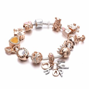 Rose Gold Chain Pa Bracelets For Women Crystal DIY Charm Bracelets Bangles Luxury Famous Brand Jewelry Gifts