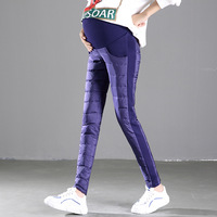 2018 Maternity Duck Down Pencil Pants Pregnant Women Winter Warm Pregnancy Belly Adjust Elastic Thick Clothes Nursing Trousers