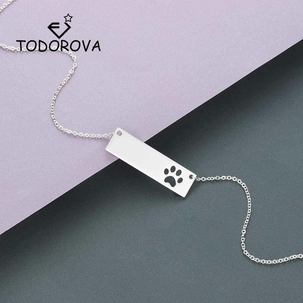 Todorova Delicate Bar Cut Out Dog Cat Paw Women Bracelet Rose Gold Stainless Steel Bracelet Men Jewelry