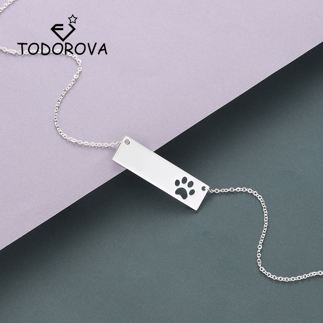 Todorova Delicate Bar Cut Out <font><b>Dog</b></font> Cat <font><b>Paw</b></font> Women <font><b>Bracelet</b></font> Rose Gold Stainless Steel <font><b>Bracelet</b></font> Men Jewelry image