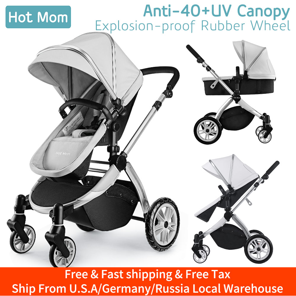 Infant Toddler Baby Stroller Carriage,Hot Mom Stroller 2 In 1 Pram Seat With Bassinet,889-Grey