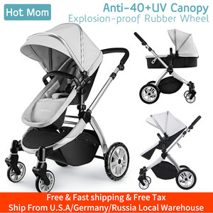 Infant Toddler Baby Stroller Carriage,Hot Mom Stroller 2 in 1 pram seat with Bassinet,889-Grey(China)