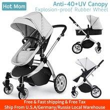 Infant Toddler Baby Stroller Carriage,Hot Mom Stroller 2 in 1 pram seat with Bassinet,889-Grey