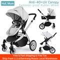 Kostenloser Versand Infant Kleinkind Baby Kinderwagen Wagen, Hot Mom Kinderwagen 2 in 1 kinderwagen sitz mit Stubenwagen, Grau
