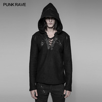 Punk Rave Rock Gothic Puleather Personality Fashion Casual Pullovers Men's Sweater T shirt Hoodie WM044