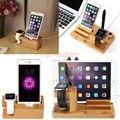 3 em 1 De Madeira De Bambu Suporte de Carga Cradle Docking Station suporte para a apple watch iphone mais 7 6 5S ipad234 ar