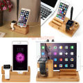 3 in 1 Bamboo Wood Charge Holder Docking Station Cradle Bracket For Apple Watch iPhone Plus 7 6 5s iPad234 Air