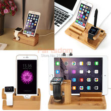 Cell Phone 3 in 1 Bamboo Wood Charge Holder Dock Band Statio