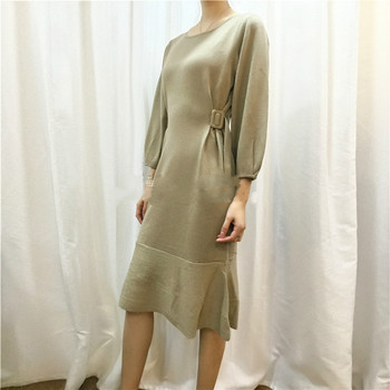 Dress Women Sale 2018 And Winter New Round Neck Pullover Waist Long Cashmere Knit Dress Nine-point Sleeve Solid Color Female