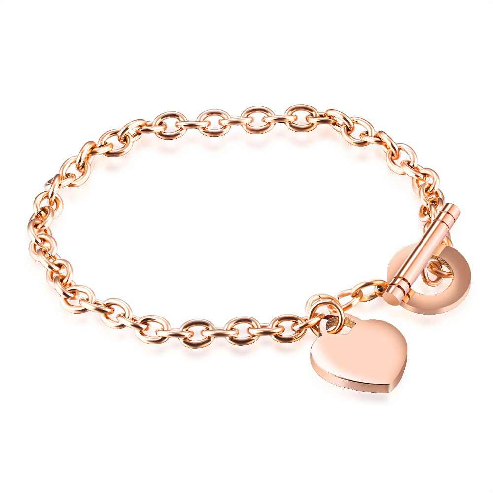FATE LOVE Brand Fashion Metal Heart Charm Bracelets Bangles for Women Girl chain link in Rose Gold color Women's Jewelry