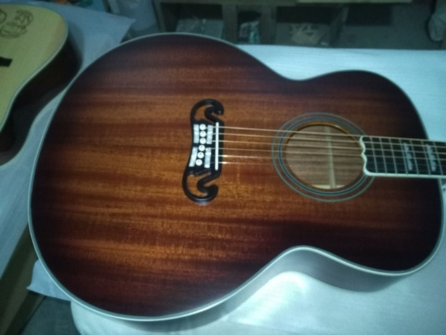 free shipping best quality jumbo size satin finishing acoustic guitar hand made mahogany wood color acoustic guitars
