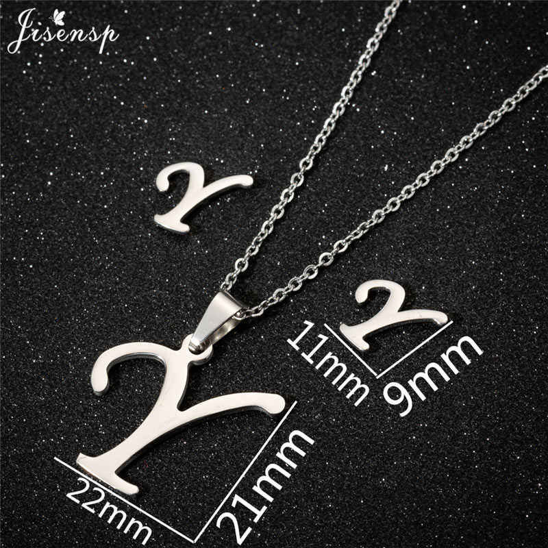 Jisensp 2019 proste mody 26 list biżuteria zestaw alfabet wisiorek z długim łańcuszkiem naszyjnik kolczyki dla kobiet zestawy biżuterii ślubnej