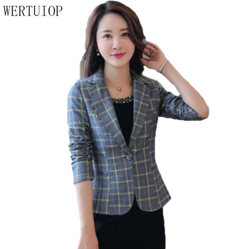 Plaid Small Suit Women Jacket Slim Casual 2018 Spring New Fashion Lattice Suit Short Women Blazer Female Coat Jacket Outerwear